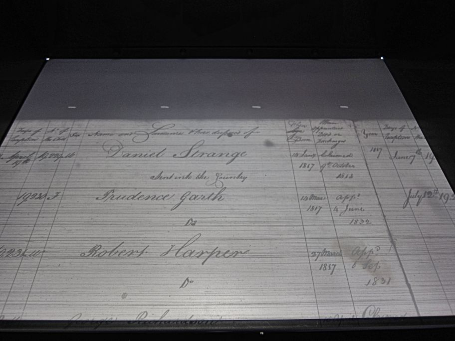Photo A: Showing Prudence's foundling number against her apprenticeship records